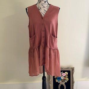 NWT LOGO Lori Goldstein Rose Pink Tunic Vest